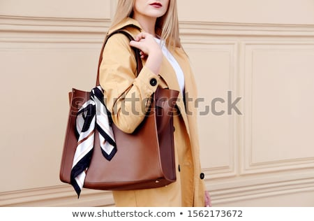 autumn lady wearing big scarf stock photo © konradbak