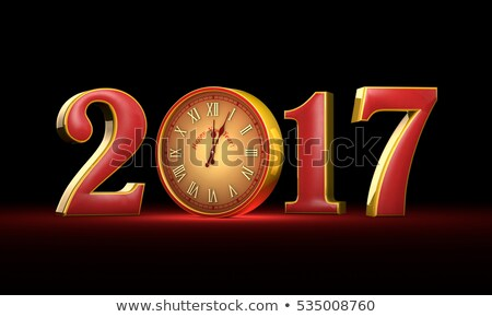 new year 2017 christmas red and gold figures midnight fabul stock photo © grechka333