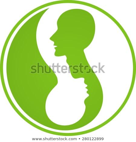 Silhouette femminile testa yin yang simbolo bianco nero Foto d'archivio © adrian_n