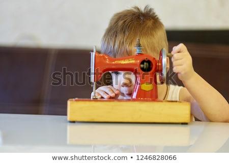jongen · swing · gelukkig · glimlachend · park · speeltuin - stockfoto © deandrobot