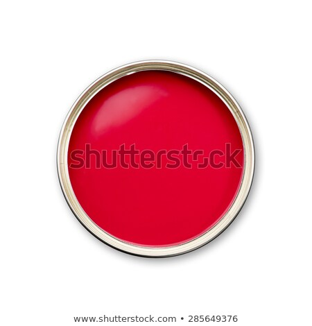 Bucket red paint with dripping paintbrush. Stock photo © Zhukow