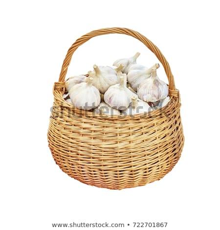Stok fotoğraf: Taze · sarımsak · sepet · yaprakları · gıda · grup