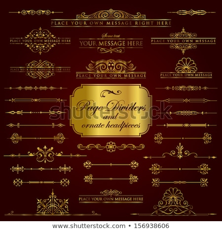 Golden page dividers and ornate headpieces - vector set Stock photo © blue-pen