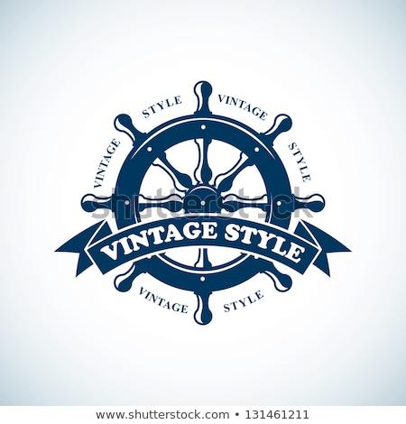 Doodle schip wiel icon Blauw pen Stockfoto © pakete