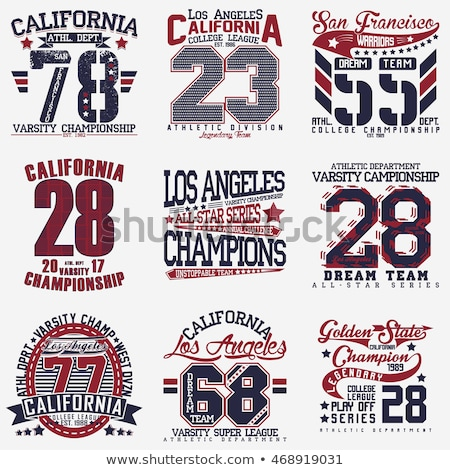 t shirt stamp graphic set california sport wear typography emblem set vector stock photo © andrei_