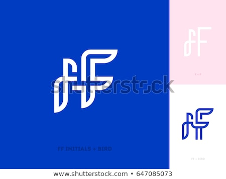Ff Initial Letters And Bird Flat Line Style Logo Mark Template Photo stock © ussr