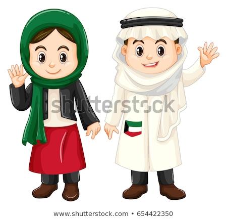 Little girl in Kuwait costume waving Stock photo © bluering