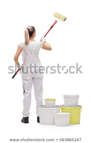 Shot kobieta toczyć uśmiechnięta kobieta odizolowany domu Zdjęcia stock © deandrobot