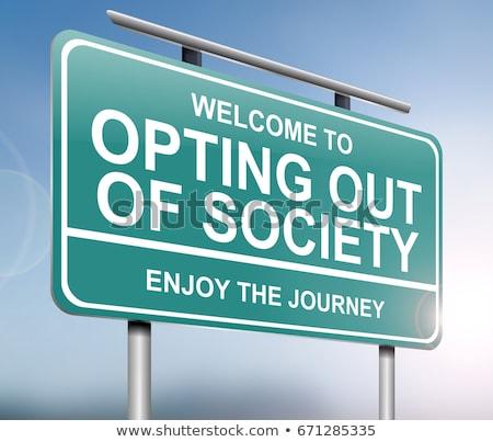 Fuera sociedad ilustración signo gráfico estilo de vida Foto stock © 72soul