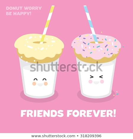 ピンク 黄色 白 ドーナツ ミルク ガラス ストックフォト © Sibstock