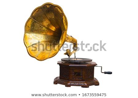 Gramofon güzel kız bağbozumu müzik kulaklık Stok fotoğraf © Fisher