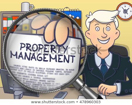 собственности управления увеличительное стекло болван бизнесмен служба Сток-фото © tashatuvango