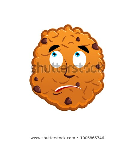 Cookies surprised Emoji. biscuit emotion astonished. Food Isolat Stock photo © popaukropa