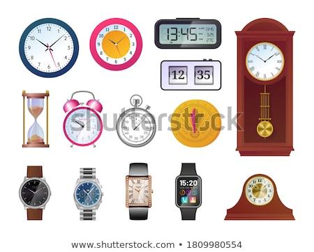 Analog zegar biały czarny Widok 3d ilustracji Zdjęcia stock © make