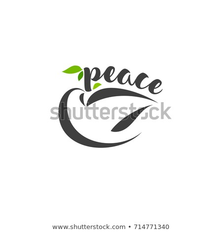 Calligraphic Lettering Peace And Pigeon With Branch Photo stock © ussr
