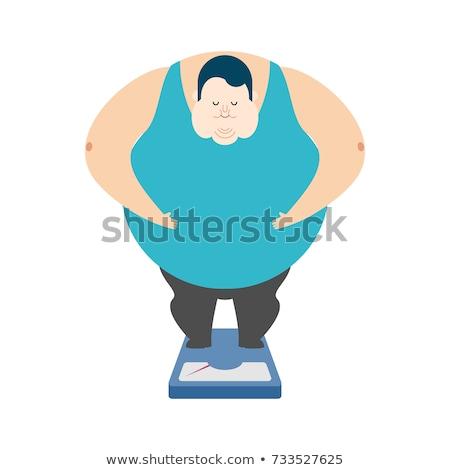 Kövér fickó mérleg férfi egészség művészet Stock fotó © popaukropa