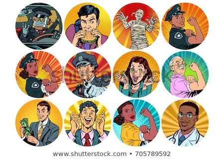 surprise woman pop art avatar character icon stock photo © studiostoks