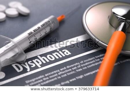 Diagnóstico médicos azul pastillas jeringa atención selectiva Foto stock © tashatuvango