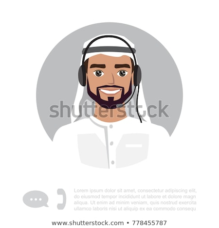 Arab operator with microphone man with headset customer service  Stock photo © NikoDzhi