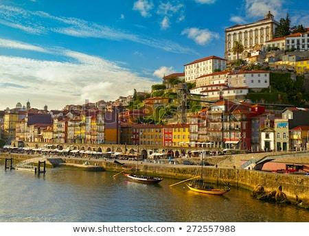 Stockfoto: Historisch · centrum · rivier · regio · Portugal · zonsondergang