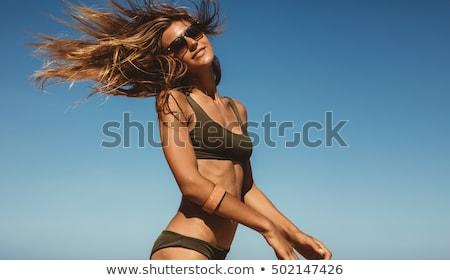 Mooi meisje strand mooie jonge vrouw bikini zwarte Stockfoto © svetography