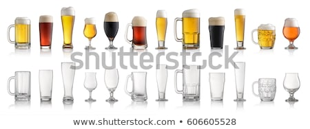 Glass of beer and hops on white background Stock photo © ConceptCafe