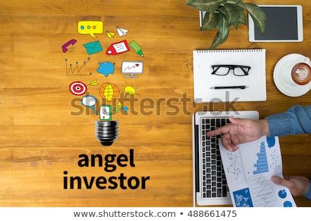 Golden Cog Gears with Angel Investor Concept. Stock photo © tashatuvango