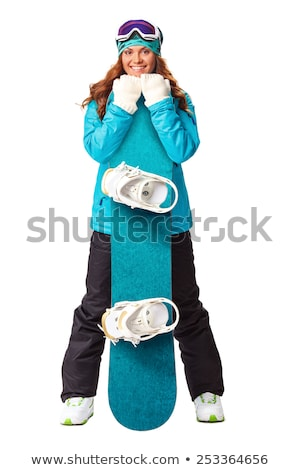 young beautiful woman in purple ski suit hold snowboard Stock photo © Traimak