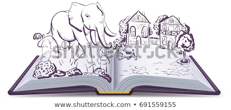 Elephant and Pug story. Illustration open fable book Stock photo © orensila