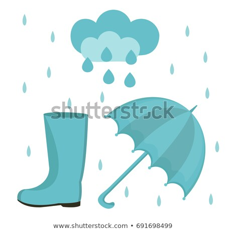 Rain set of flat or cartoon style. Autumn collection with umbrella, cloud, rubber boots. Isolated on Stock photo © lucia_fox