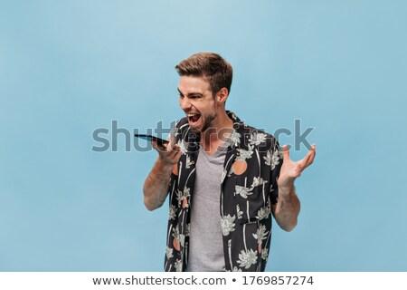 怒っ あごひげを生やした 男 ビジネス 服 悲鳴 ストックフォト © deandrobot