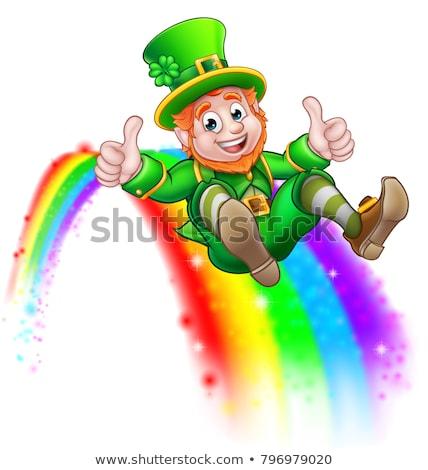 St Patricks Day Leprechaun Pot of Gold End Rainbow Stock photo © Krisdog