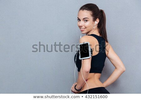 genç · kadın · koşucu · merdiven · portre - stok fotoğraf © deandrobot