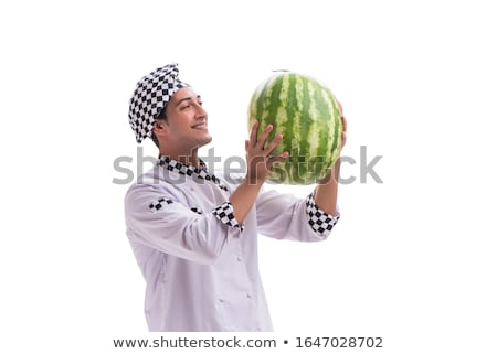 Young male cook with watermelon isolated on white Stock photo © Elnur