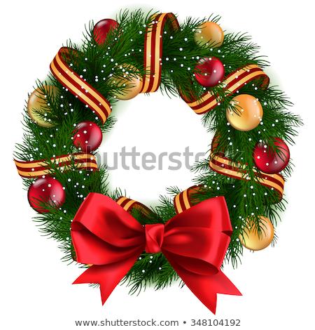 вектора · Рождества · соснового · венок · красный · лук - Сток-фото © robuart