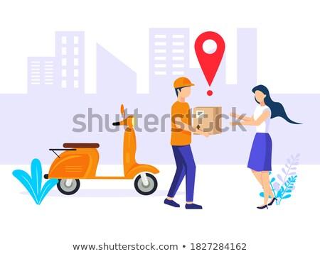 Venda publicidade cidade azul pessoal Foto stock © studioworkstock