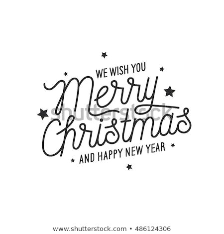 Stok fotoğraf: Vector Merry Christmas Holiday And Happy New Year 2017 Illustration With Typographic Design And Snow