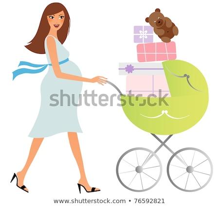 Zwangere vrouw kinderwagen park vintage geluk maag Stockfoto © IS2