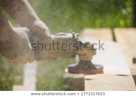 young carpenter working on wood with frame saw stock photo © kzenon