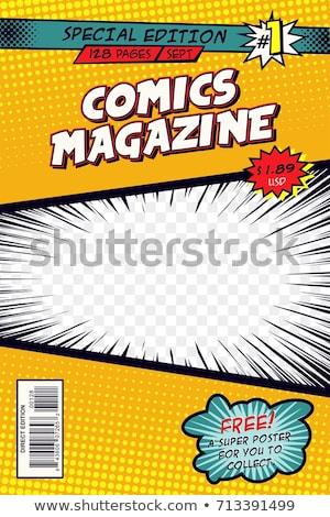 Képregény borító elrendezés sablon könyv művészet Stock fotó © SArts
