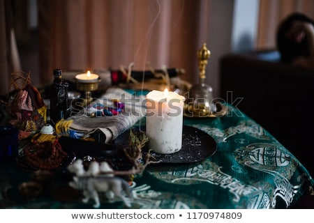 black magic candle for witchcraft accessory for witch stock photo © popaukropa
