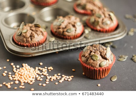 muffins with red lentils and pumpkin seeds Stock photo © glorcza