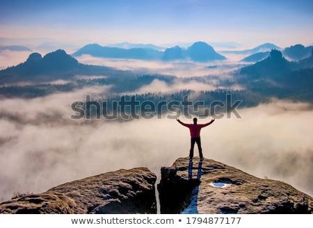 Homem silhueta louvor triunfo céu Foto stock © Krisdog