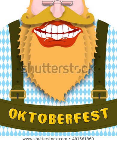 german in traditional costume with red beard drinks beer oktoberfest beer festival stock photo © orensila