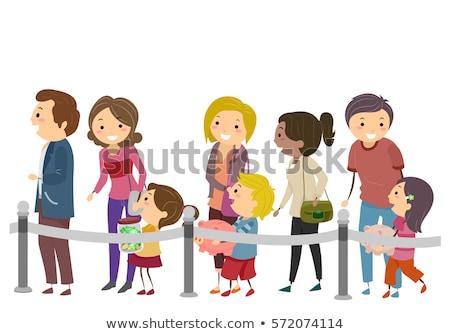 Stickman Family Kids Parents Bank Line Stock photo © lenm