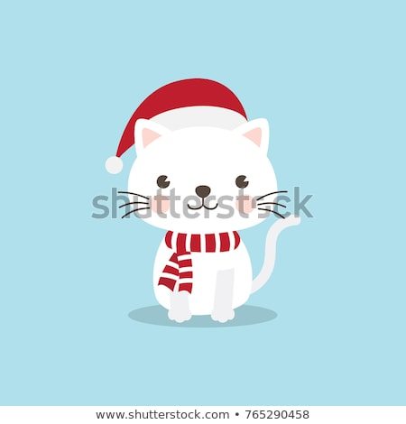 Meowy Christmas with cute cats, vector set Stock photo © beaubelle