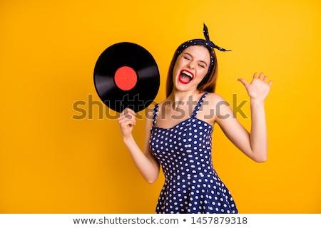 Pani winylu rekord młodych szary Zdjęcia stock © ra2studio