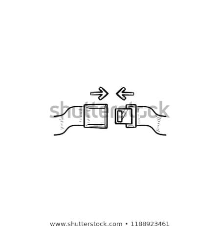 stewardess · zitting · gordel · mannen · reizen · vliegtuig - stockfoto © rastudio