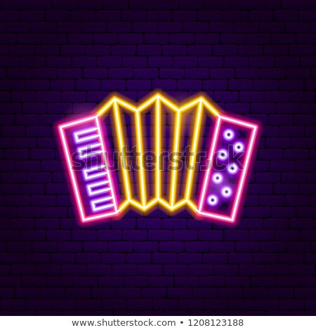 Accordeon neonreclame muziek promotie ontwerp teken Stockfoto © Anna_leni