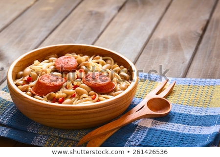 chilean porotos con riendas beans with spaghetti stock photo © ildi